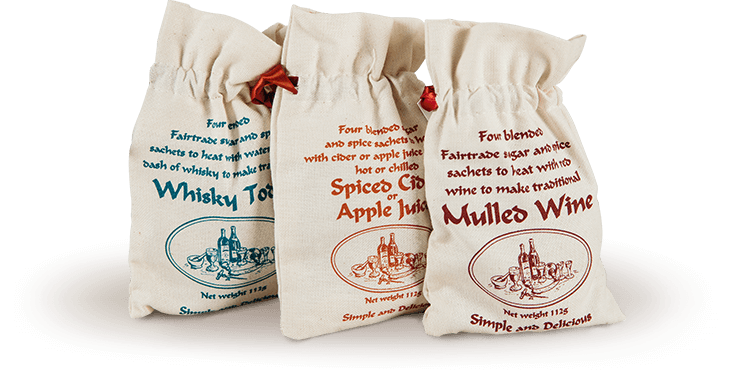 Mulled spices in cotton bags