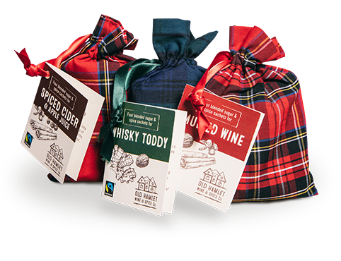 Mulled spices in tartan bags